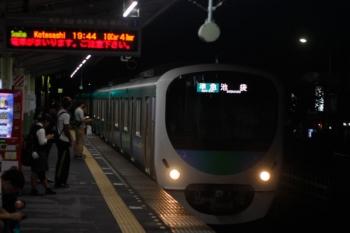 2019年9月11日 19時54分ころ。元加治。到着する30000系の上り準急列車。
