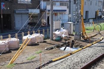 2019年9月15日。清瀬。4番ホーム飯能方の端から見た工事現場。