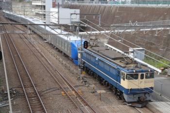 2019年9月28日 8時49分ころ。新秋津。EF65-2101に牽引されて001-D編成が到着。