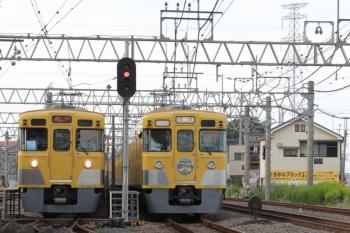 2019年10月5日 14時58分ころ。南入曽車両基地の入り口。2003Fの新所沢ゆき臨時列車が到着すると、2007Fの回送列車は会場へ向かいました。