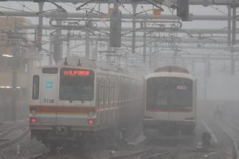 2019年10月12日。石神井公園。6301レで到着し5番線へ入ったメトロ7018Fと、6番線で夜間滞泊の東急5164F。