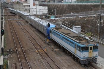 2019年10月27日 8時48分ころ。新秋津。EF65-2127に牽引され到着する001-E編成。