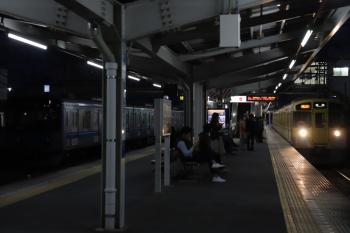 2019年11月3日 17時1分ころ。狭山ケ丘。9105Fの2002レ(のスジの列車)。