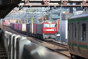2019年11月11日 11時52分ころ。高田馬場。EH500-28が牽引の南行コンテナ貨物列車。湘南新宿ラインとすれ違い。。