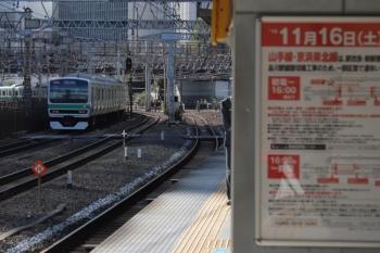 2019年11月16日。田町。東海道本線は影響を受けないので、常磐線直通列車も品川まで走ってました。