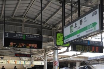 2019年11月16日。上野。ホームの発車案内表示は、山手線外回りは無表示、京浜東北線の南行はすべて田町。