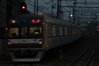 2019年11月28日 6時32分。西所沢。メトロ10021Fの上り回送列車(16M)。