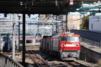 2019年11月30日 11時52分ころ。池袋。山手貨物線を走るEH500-60ほかの南行コンテナ貨物列車と入庫するN'EX。
