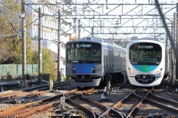 2019年11月30日 13時30分ころ。小平。引き上げ線で折り返し待ちの20156F(左)と、上石神井から戻ってきたと思われる38105Fの下り回送列車。