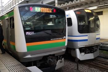 2019年12月26日 7時31分ころ。西大井。E233系の湘南新宿ラインとE217系の横須賀線が並びました。