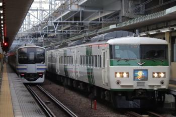 2019年12月26日 9時6分ころ。西大井。185系の上り「湘南ライナー」とE217系の横須賀線下り列車とのすれ違い。
