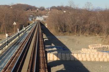 2020年1月1日。丹荘〜群馬藤岡。神流川の橋梁の上。河川敷は工事中。