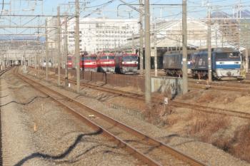 2020年1月1日 8時55分ころ。倉賀野〜高崎。八高線の列車から見たJR貨物・高崎機関区。
