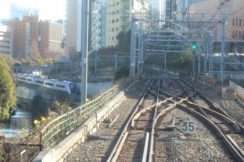 2020年1月2日 9時22分ころ。水道橋〜御茶ノ水。総武緩行線をくぐって上りの中央快速線を行くE353系(左奥)。