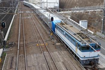 2020年1月12日 8時48分ころ。新秋津。EF65-2117に牽引され到着する001-G編成。