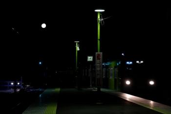 2020年2月8日。元加治。到着する9102Fの3102レ。左上に満月が見えます。
