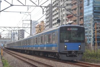 2020年3月13日。高田馬場〜下落合。20107Fの2334レ。いつもの踏切。20107Fもこのころは新宿線でした。