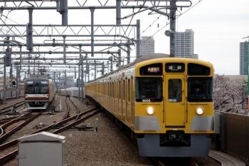 2020年3月23日。石神井公園。9105Fの1104レ(右)。左はメトロ10020F。6303レ〜6304レで折り返す35S運用。