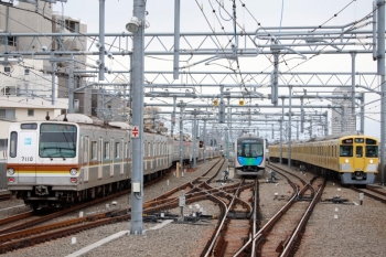 2020年3月23日。石神井公園。54M運用で折り返し待ちの40103F(中央)の脇を、メトロ7010Fの4507レ(67S)が発車(左)し、2087F+2461Fの2134レが到着(右)。