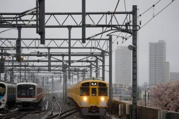 2020年3月29日 6時13分ころ。石神井公園。右から、桜、2085Fの上り回送列車、6番線の東急5157F、5番線で折り返しの38105F。