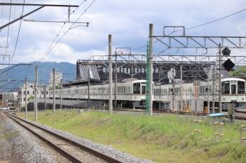 2020年5月23日 9時58分ころ。西武秩父/御花畑。右から、元6003レの4015F上り回送列車、4017F+4021Fの5022レ、御花畑駅で発車待ちの6053レだった4003F。