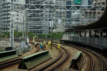 2020年5月30日 11時半ころ。五反田。運休の山手貨物線で作業していました。