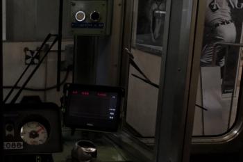 2020年6月2日5時53分ころ。5409レのクハ2088運転台。ブレーキ弁の奥にあるディスプレイに「5409」と表示があります。