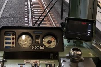 2020年6月2日5時53分ころ。5204レのクハ2087運転台。ブレーキ弁の奥のディスプレイは「0000」と表示があります。