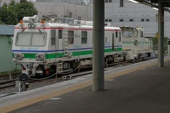 2020年7月10日朝。東長崎。4番ホーム横の保守用車スペースにいたDr.Multiとモーターカー。