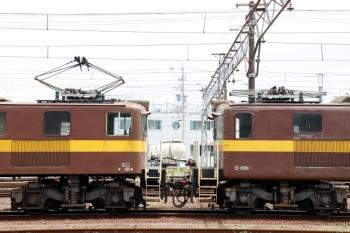 2020年7月16日。富田。左がED454で右がED451。車体の裾の丸みの有無や、床の高さは違いますが、台車は同じようです。