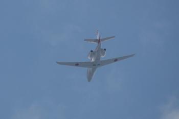 2020年8月18日 11時25分ころ。上石神井。上空を通過した小型のジェット機。