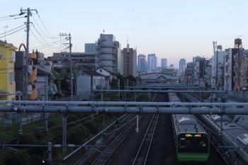 2020年8月20日。目白〜池袋。ひまわりイラストの山手線。目白駅とさらに新宿の高層ビル街が見えていますが、羽田空港へ着陸するであろう旅客機も上に小さく写ってます。