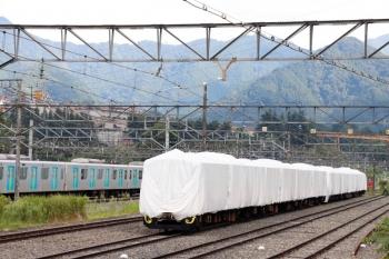 2020年8月30日 14時46分ころ。横瀬。白いシートに覆われた3011Fと10000系、そして夕方のS-Trainまで留置の40104F。