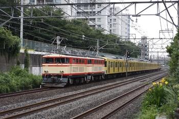 2009年7月31日 8時38分頃、所沢~新秋津、E31+E34+2077Fの甲種鉄道車両輸送の貨物列車。