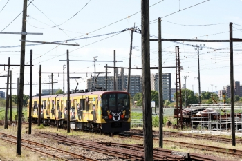 2020年9月21日。北熊本。上熊本から到着する01形。2両ともefWING台車を履いてます。構内はかなりオンボロですが、電車はきれいでした。