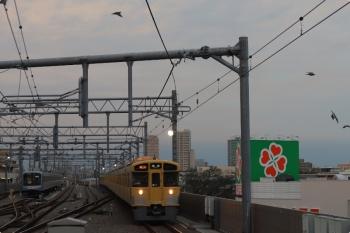 2020年10月16日。石神井公園。いつもの6番線ではなくて5番線に夜間滞泊のY511Fと、2063F+2461Fの2102レ。