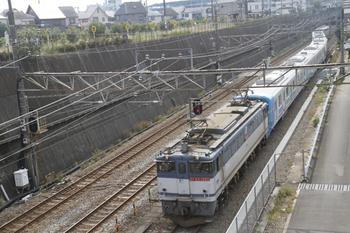 2011年10月9日 12時0分頃、新秋津、府中本町方から到着するEF65-1065+38110Fの貨物列車。