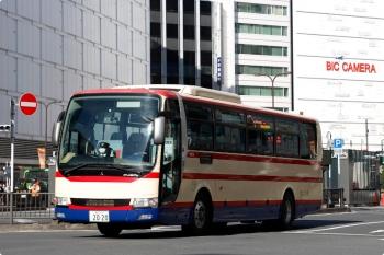 2020年11月22日 12時47分ころ。池袋駅東口の前。福島交通の高速バス。