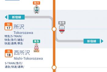 2020年11月28日 17時55分ころ更新。西武線アプリの列車位置情報。