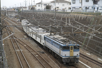 2012年4月7日 13時18分、新秋津、EF65-1127+西武1245Fの甲種鉄道車両輸送列車。