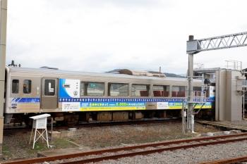 2020年12月10日 13時23分ころ。安芸。車庫がある駅です。入換中の、「高知観光リカバリーキャンペーン」車体広告の9640-9。