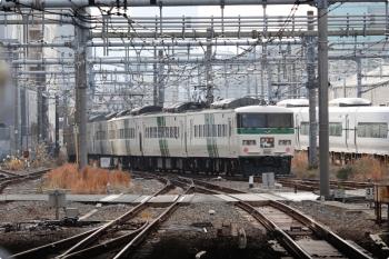 2020年12月29日 9時半頃。新宿。185系の特急「踊り子 5号」3065M。赤羽駅でトラブルがあったようで少し遅れてました。