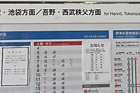 2013年10月13日、東飯能駅のホーム時刻表掲示。<br />