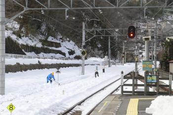 2014年2月22日 13時15分頃、吾野、秩父方を望む。側線の雪かき中。