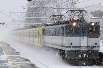 2015年2月10日 8時22分、柏原、EF65-2083+3009Fの下り貨物列車。