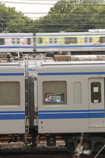2015年6月6日16時半頃、小手指車両基地、洗浄線に止まる「ageHa TRAIN」の6151F。背後は20151F「いこいーなトレイン」の上り列車。