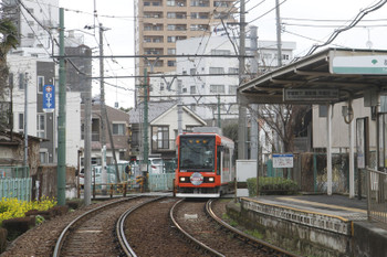 2016年2月21日、都電雑司ヶ谷、東池袋四丁目から到着する早稲田ゆき。