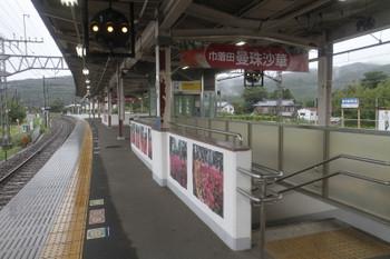 2016年9月22日、高麗、巾着田の曼珠沙華をPRする駅構内。