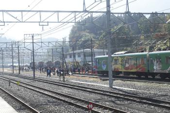 2016年11月5日、横瀬駅ホームから見た会場の車両基地。