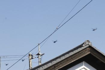 2017年11月5日 11時45分ころ、元加治駅近く、北上するヘリコプター4機。